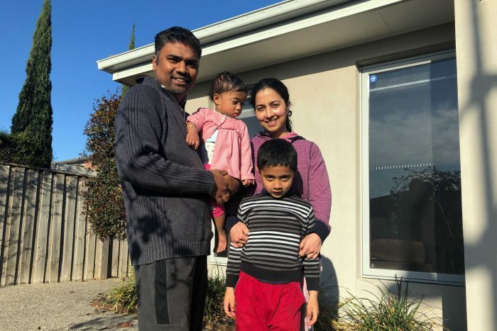 Aparna Hegde and Naveen Samrat with their two kids at the Point Cook home.