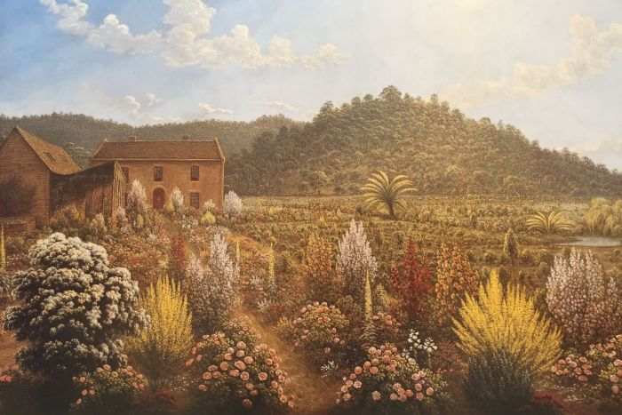 A painting of a homestead by John Glover with colourful flowers in the foreground and a hill in the background.