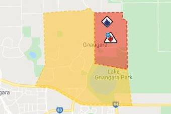 A map showing the area under direct threat of the bushfire.