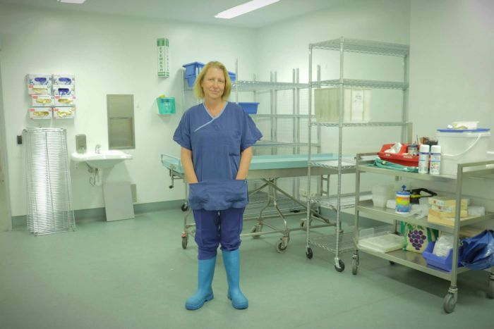 Woman stands in gumboots and scrubs in a clinical office environment.