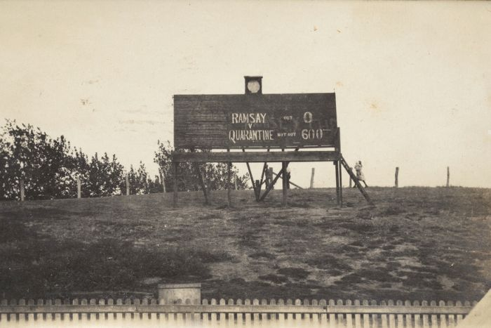 A black and white image of a scoreboard saying Ramsay, zero, verses, quarantine, 600.