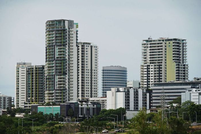 The Darwin skyline is seen on an overcast afternoon.