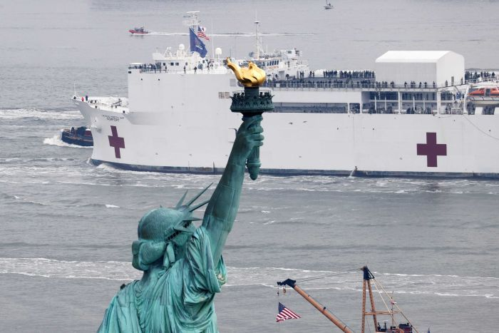 A ship with a red medical cross is in the background, the Statue of Liberty is in the foreground