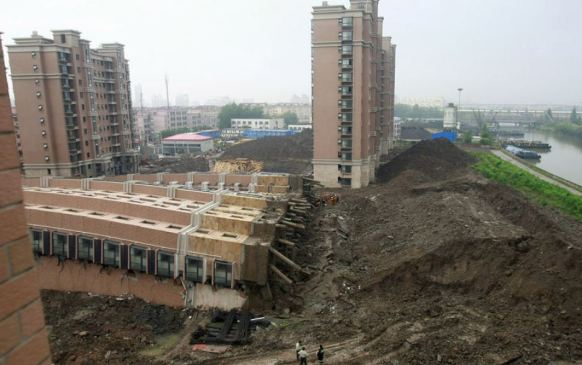 Collapsed building in Shangai.