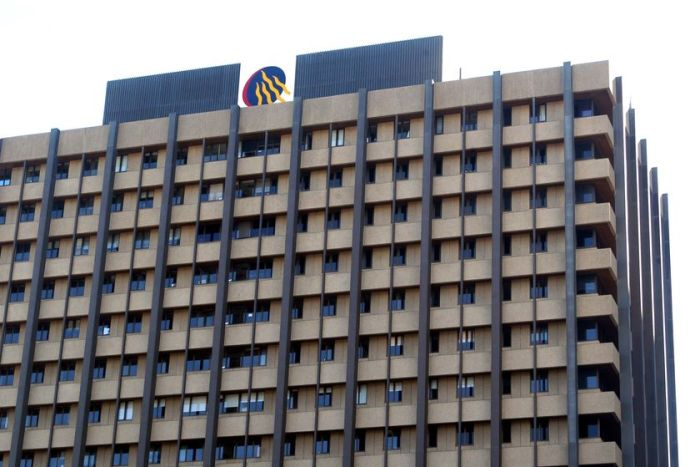 The Queensland Government logo sits atop the Executive Building at 100 George Street in Brisbane on June 2009.