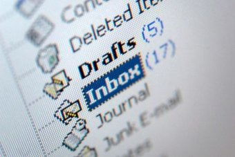 A close up on a list of folders in an email account, including inbox, drafts and deleted items.