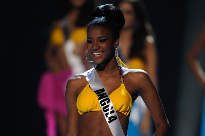 Leila Lopes of Angola beats 88 other contestants to win the Miss Universe contest in San Paulo, Brazil
