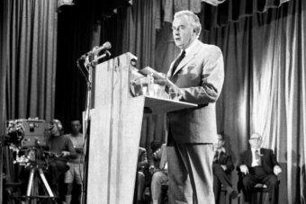 Gough Whitlam stands at Its Time podium