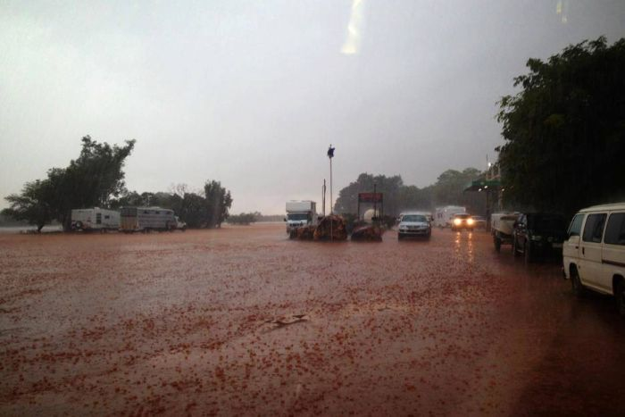 Heavy rain at Sandfire Roadhouse in the Pilbara