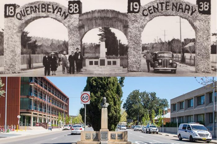 The 1938 archway celebrating Queanbeyan's 100 years in wheat and wool is now long gone. The bust of William Farrer is still standing strong.