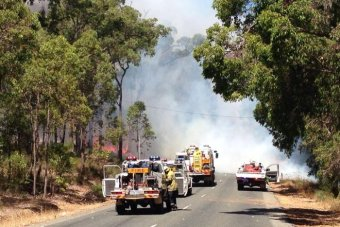 The fire has crossed Richardson Road East in Parkerville.