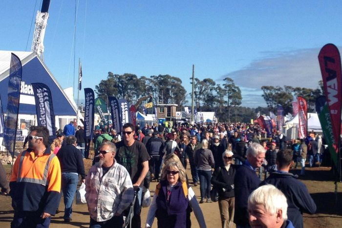 Crowds build a the agricultural show Agfest in northern Tasmania.