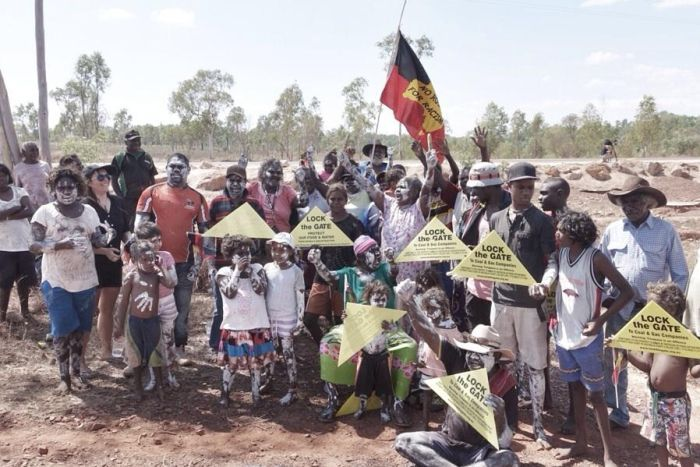 Garrawa families ready to march against what they is fracking and mining destruction at McArthur River.