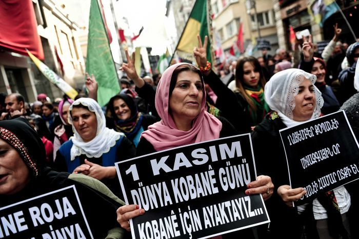 Kurds rally in support of those fighting IS militants in Kobane