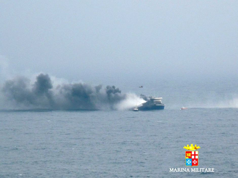 Car ferry Norman Atlantic burns in waters off Greece