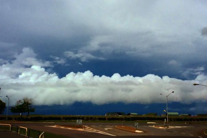 Monsoonal clouds sit low in the Darwin sky.