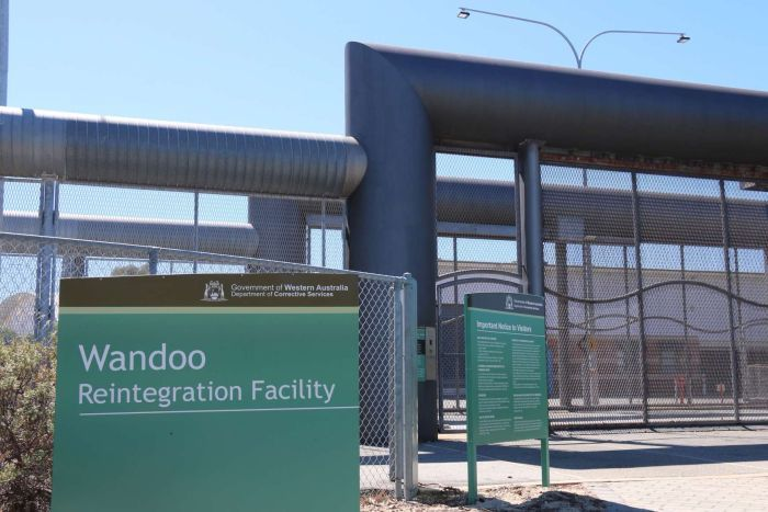 Wandoo sign and front entrance at prison in Murdoch in Perth