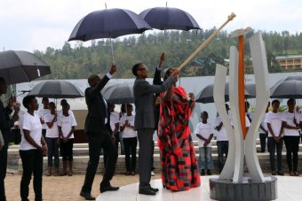 Rwandan president Paul Kagame lights the Flame of Remembrance