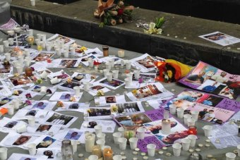Remnants of the vigil for Andrew Chan and Myuran Sukumaran at Martin Place.