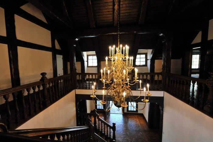 A chandelier hangs over a lofted main entryway of the main house inside Michael Jackson's Neverland Ranch