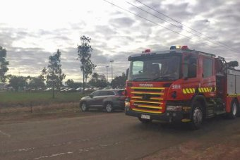 One of five fire trucks that arrived at Ravenhall prison with sirens blaring on Wednesday morning.