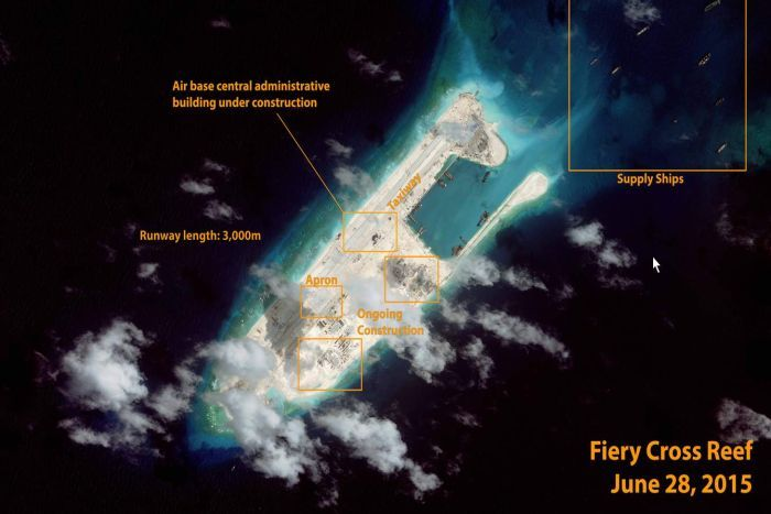 Satellite image of Chinese air base in the South China Sea