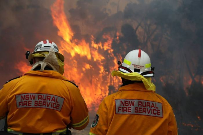 NSW RFS battle a blaze at Wentworth Falls in the Blue Mountains, August 3, 2015.