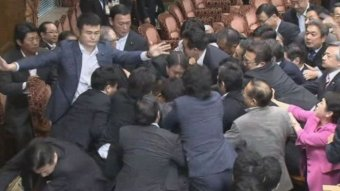 Scuffles in Japan upper house in September 2015