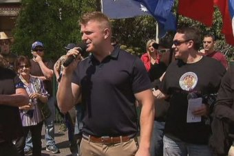 A Victorian UPF leader Blair Cottrell addresses the anti-mosque rally at Bendigo.