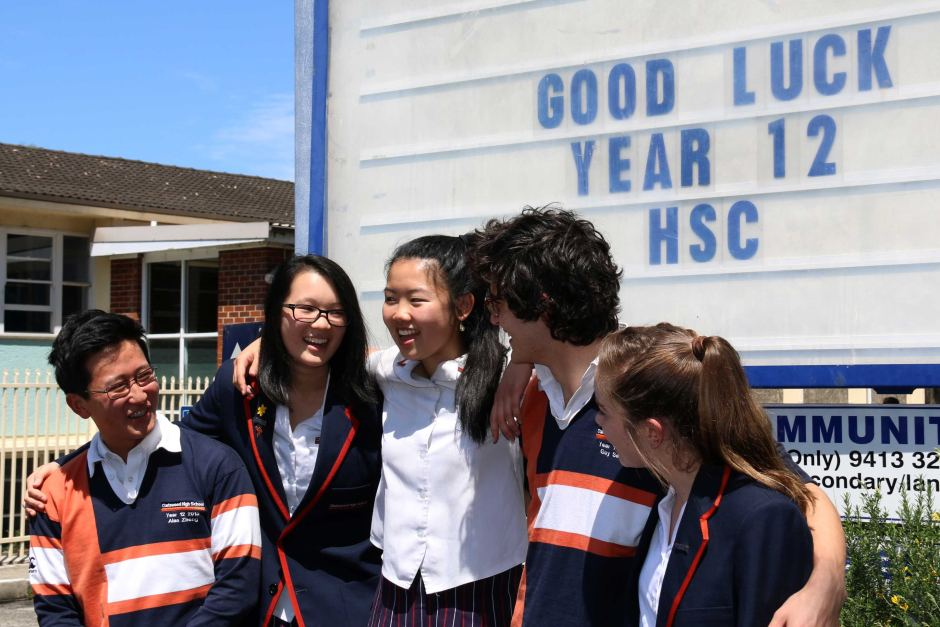 Chatswood High School year 12 students begin the first day of HSC exams on October 12, 2015.
