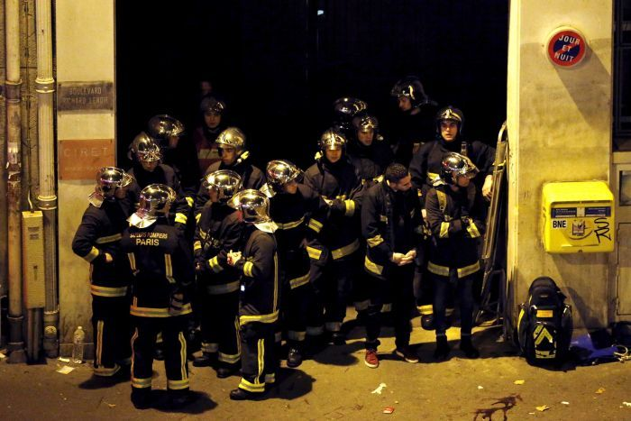 French fire brigade members near the Bataclan concert hall, in Paris.