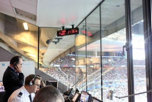 Francois Hollande in the security control room at the Stade de France stadium
