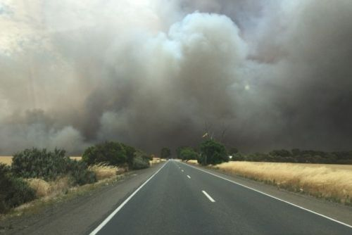 Bushfire burns in the area near Mallala north of Adelaide
