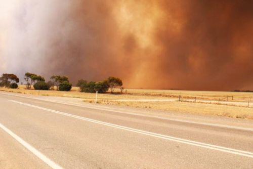 Fire burns in the Mallala area north of Adelaide in fierce winds