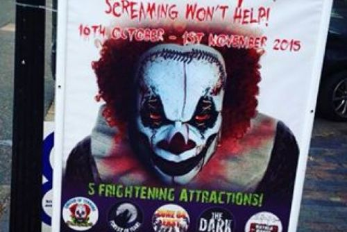 The scary clown advertising poster for the PrimEVIL Halloween attraction
