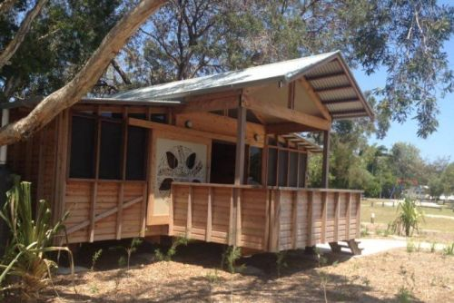 A cabin established by the Quandamooka Yoolooburrabee Aboriginal Corporation