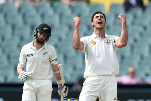 Mitchell Starc celebrates the wicket of Kane Williamson