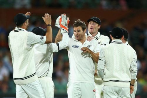 Bracewell celebrates wicket in Adelaide
