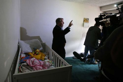 A reporter does a live shot inside the home of shooting suspect Syed Farook
