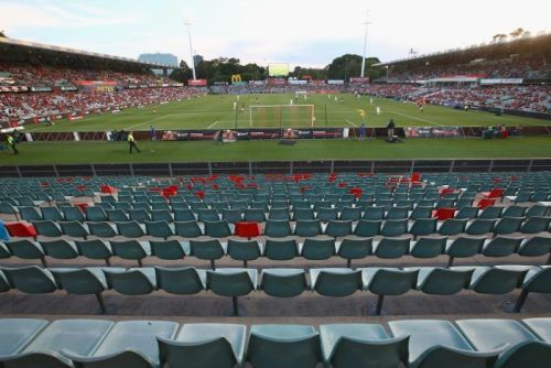 Empty seats at the Wanderers-Roar clash at Parramatta Stadium