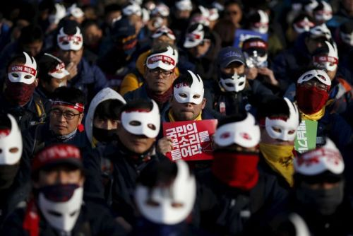 Protesters at a rally in South Korea