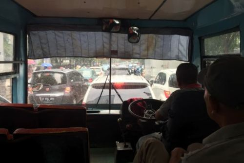Inside a private Mini Metro bus in Jakarta
