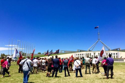 Rally against domestic violence at Parliament House
