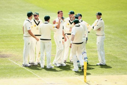 Australia's Josh Hazlewood celebrates the wicket of West Indies' Jerome Taylor