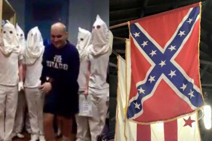 US military cadets in KKK-like costumes