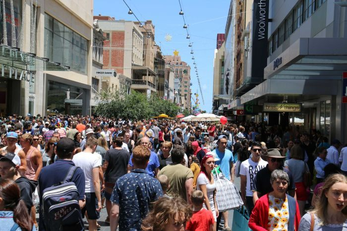 A crowd of people shopping in Adelaide's Rundle Mall on Boxing Day, December 26, 2015.