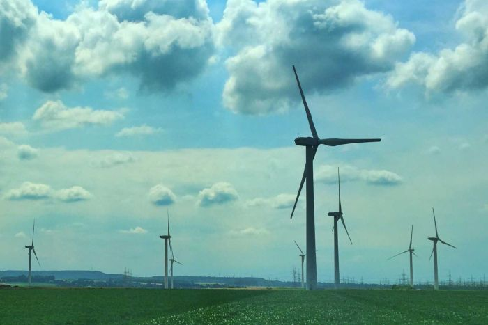 Wind turbines are spread across many of the rolling hills of Germany