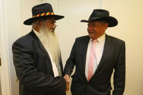 Labor Senator Pat Dodson and Mick Gooda shake hands.