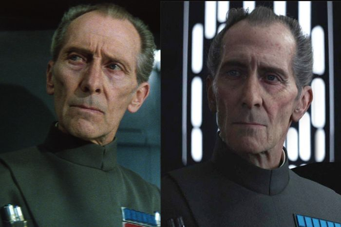 A composite of Peter Cushing playing Grand Moff Tarkin in Star Wars and a CGI imitation of his character.