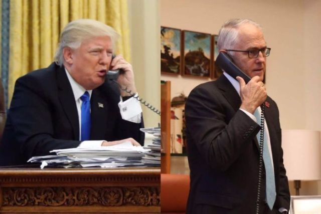 Donald Trump and Malcolm Turnbull on the phone